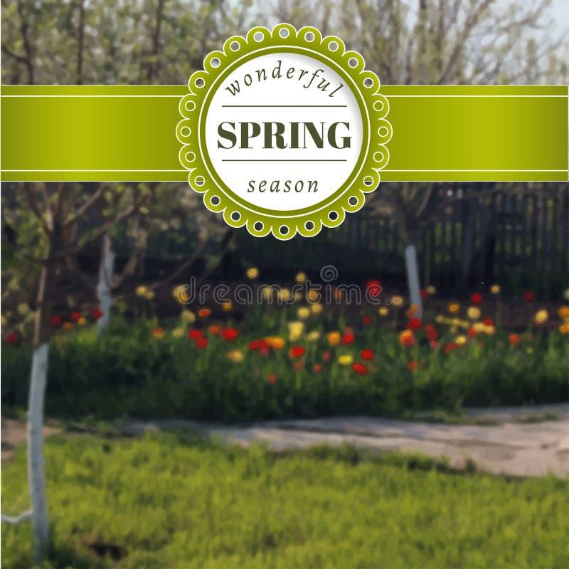 Cartel borroso primavera con los tulipanes Fondo de la foto del vector stock de ilustración