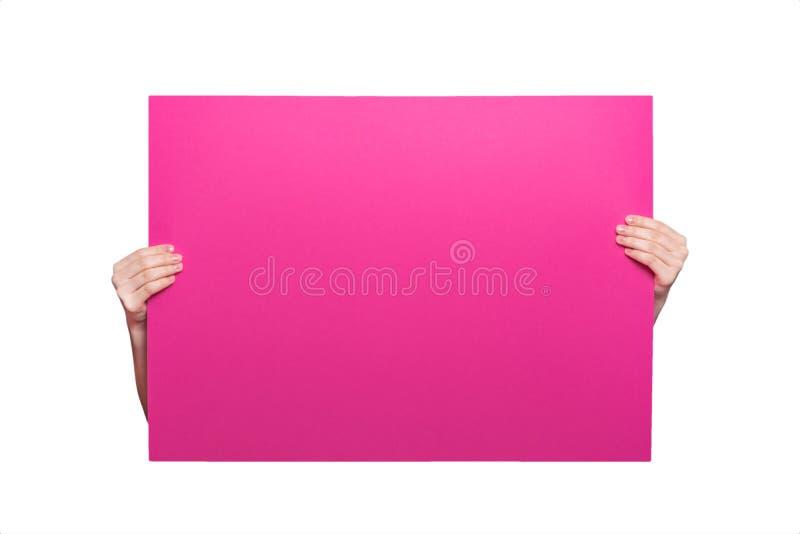 Cartel brillante coloreado en primer de las manos Espacio en blanco de la disposición para un ins imagen de archivo