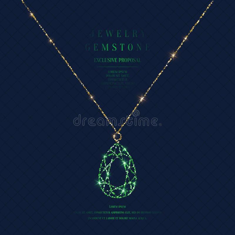 Cartel brillante con un colgante precioso con una cadena del brillo del oro en un fondo oscuro con el campo para el texto ilustración del vector
