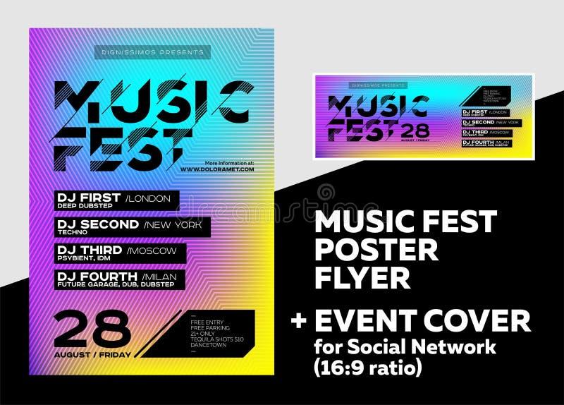 Cartel brillante de DJ para el festival del verano Música electrónica mínima C libre illustration
