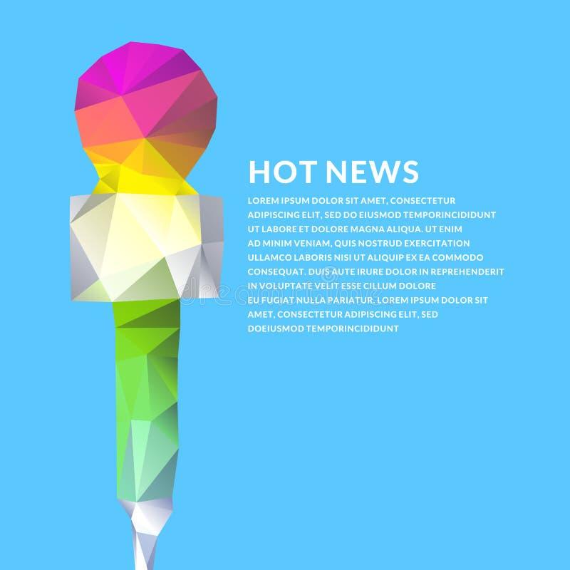 Cartel brillante del vector con las noticias de un micrófono en estilo poligonal ilustración del vector