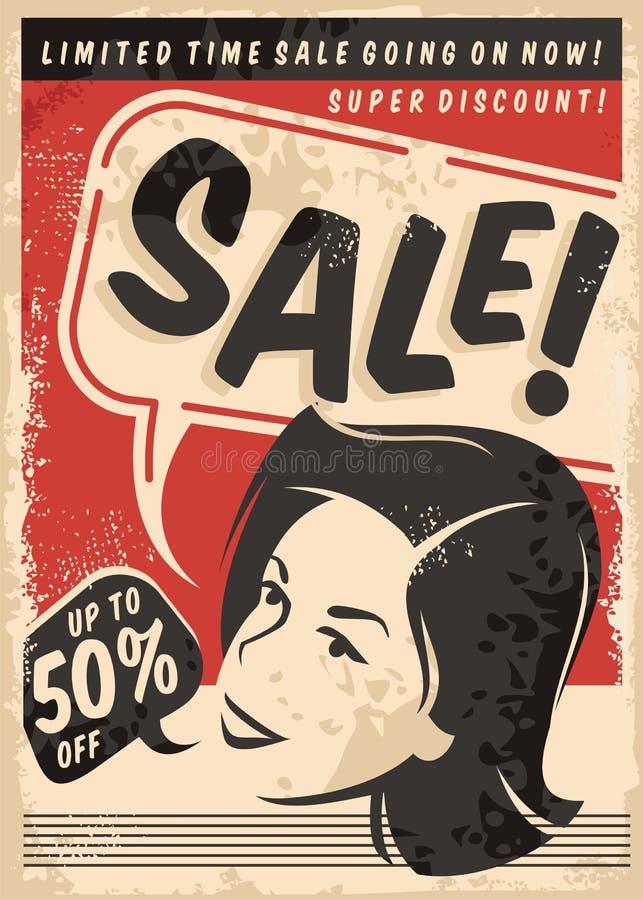 Cartel cómico del estilo de la venta del vintage en vieja textura de papel ilustración del vector
