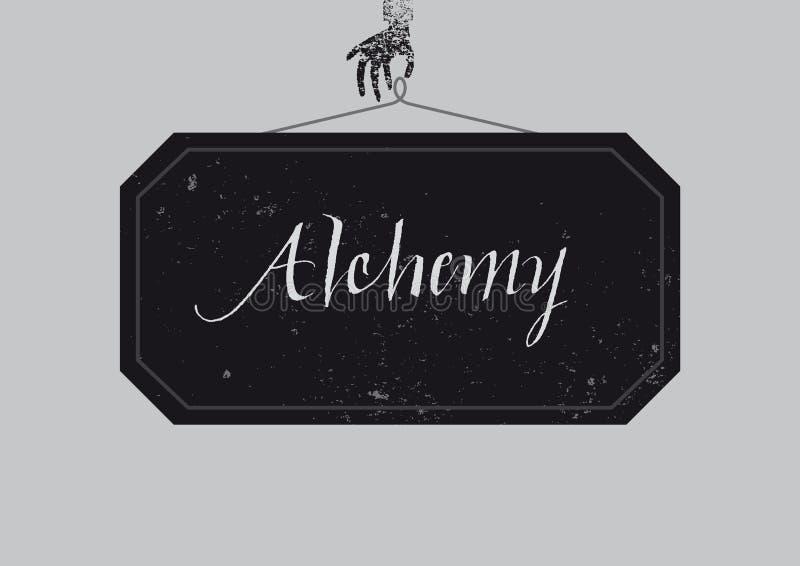 Cartel caligráfico de la alquimia stock de ilustración