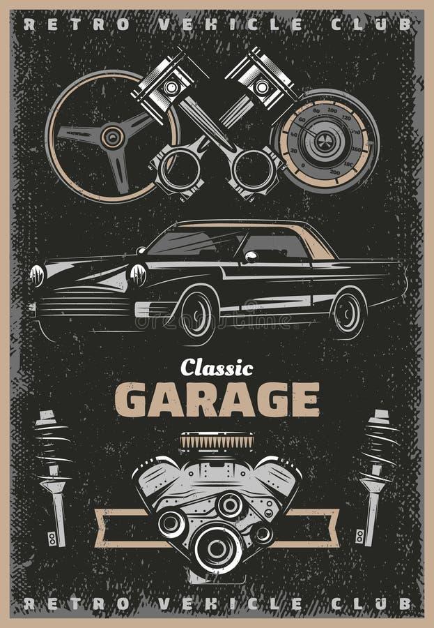 Cartel clásico coloreado vintage del servicio del garaje libre illustration