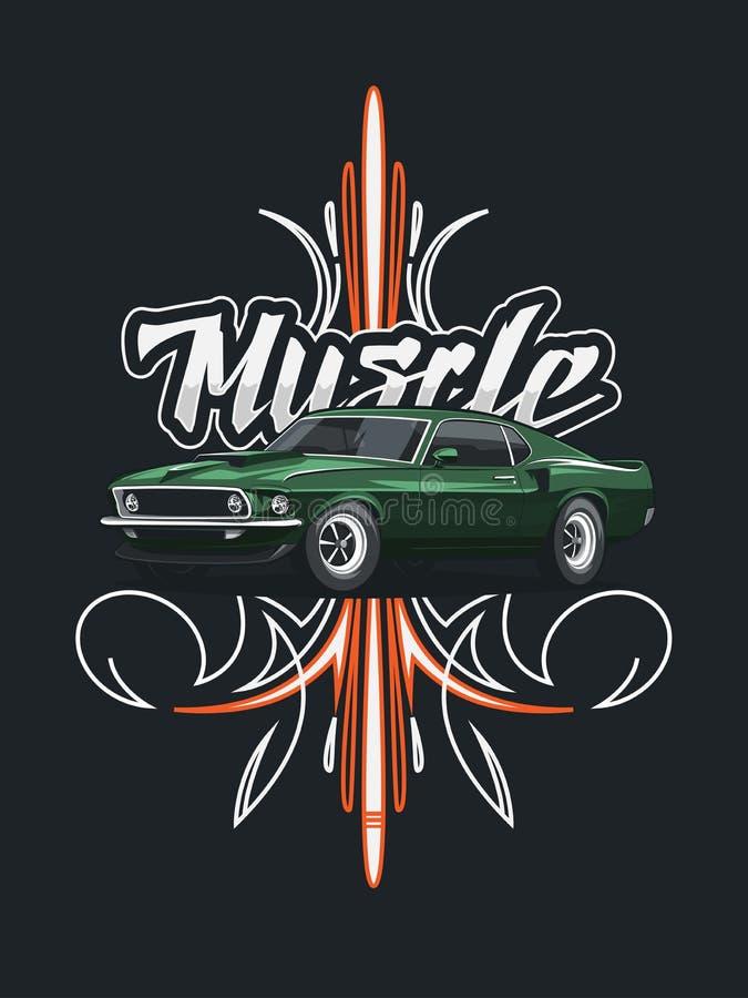 Cartel clásico del coche del músculo con el ornamento tribal libre illustration