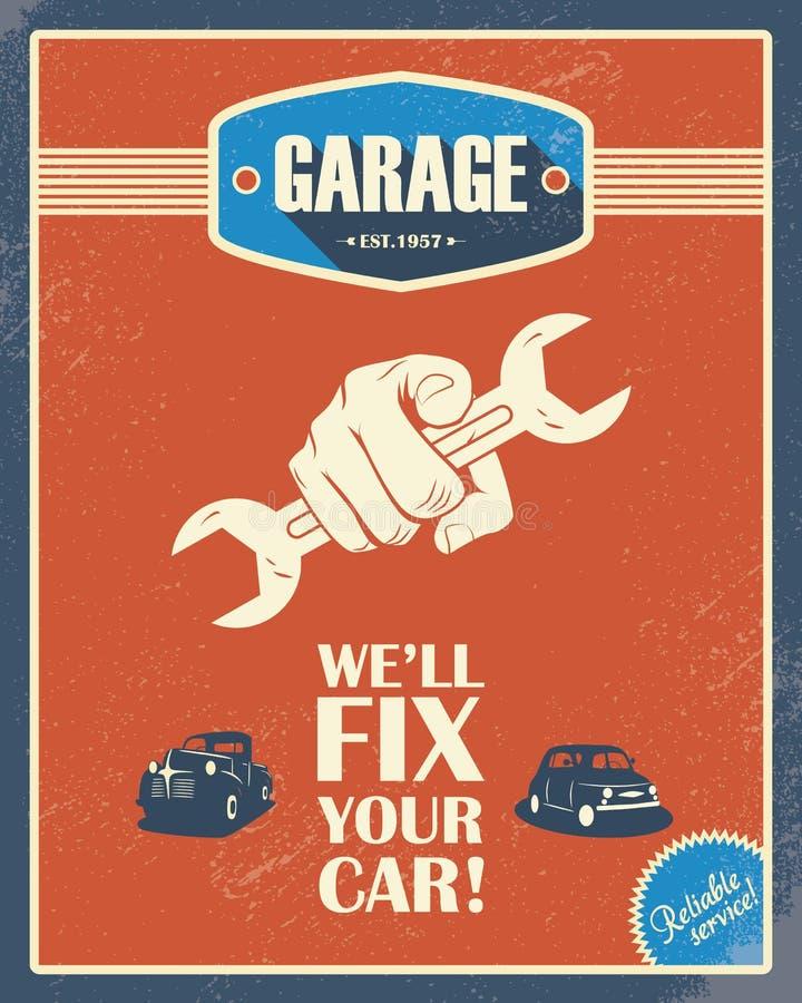 Cartel clásico del garaje Coches del vintage Estilo retro libre illustration