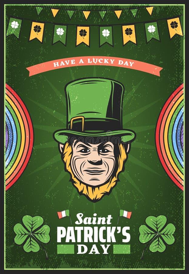 Cartel coloreado vintage del día del St Patricks ilustración del vector