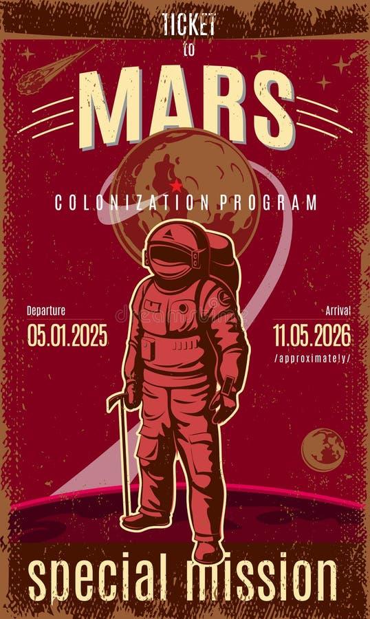 Cartel coloreado vintage del descubrimiento de Marte ilustración del vector