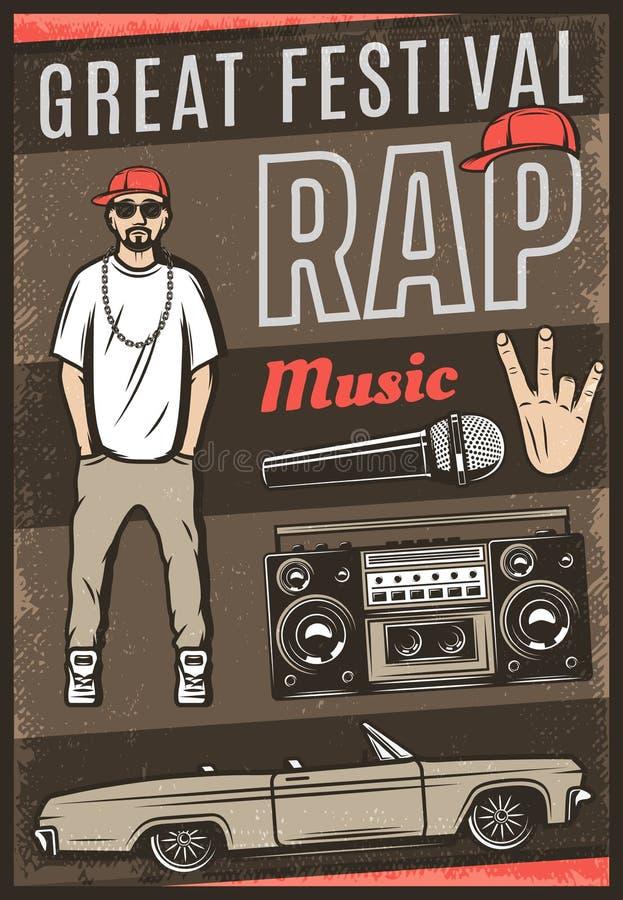 Cartel coloreado vintage del festival de música rap ilustración del vector