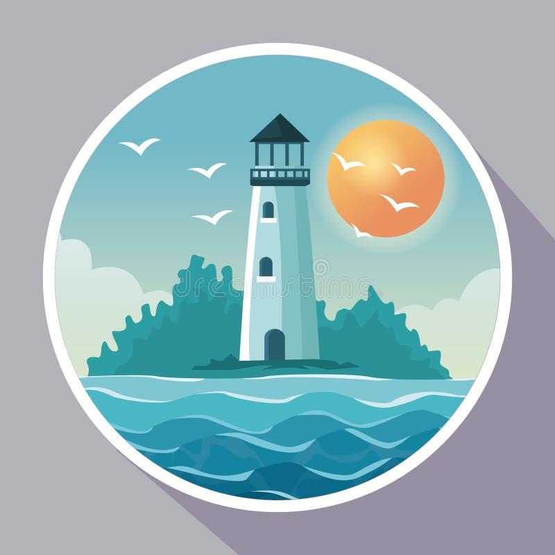 Cartel colorido con el marco circular de la playa con el faro en costa con el sol en el cielo libre illustration