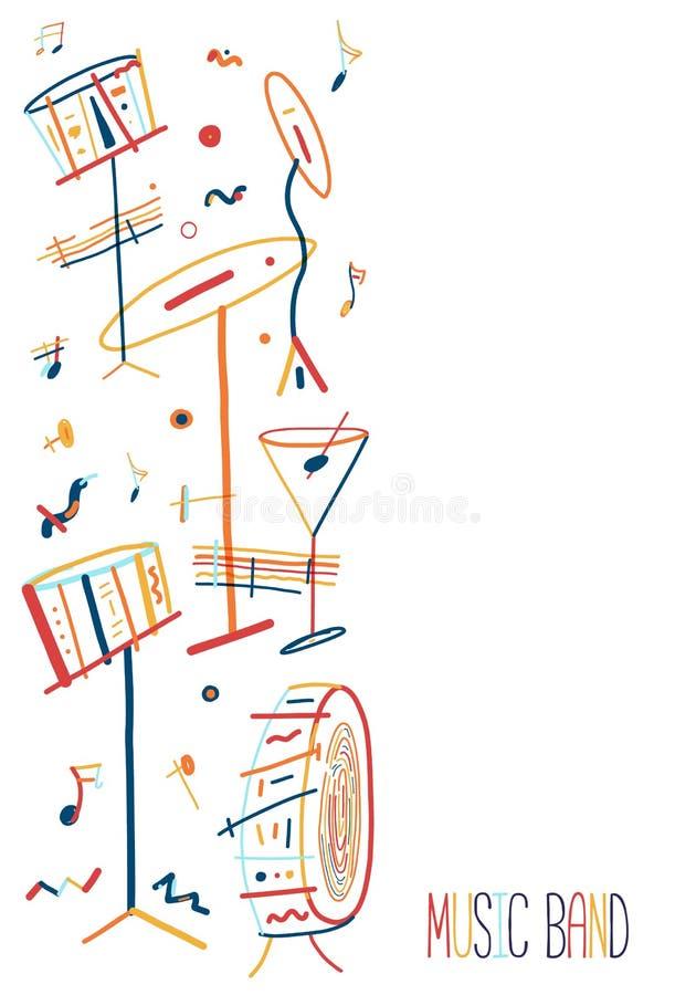 Cartel colorido de Jazz Music del lineart con los instrumentos del tambor en fondo stock de ilustración