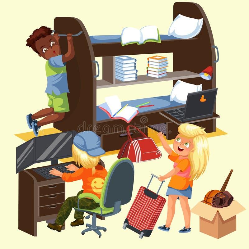 Cartel colorido de la casa de frat de los estudiantes con los muchachos y la muchacha de los compañeros de cuarto con la maleta q libre illustration