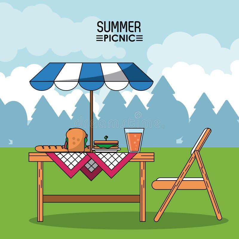 Cartel colorido de la comida campestre del verano con paisaje al aire libre y la tabla con las comidas y la sombrilla libre illustration