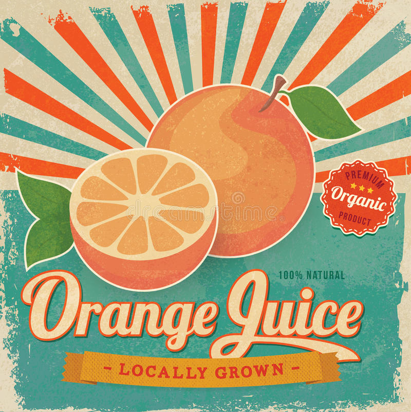 Cartel colorido de la etiqueta del zumo de naranja del vintage ilustración del vector