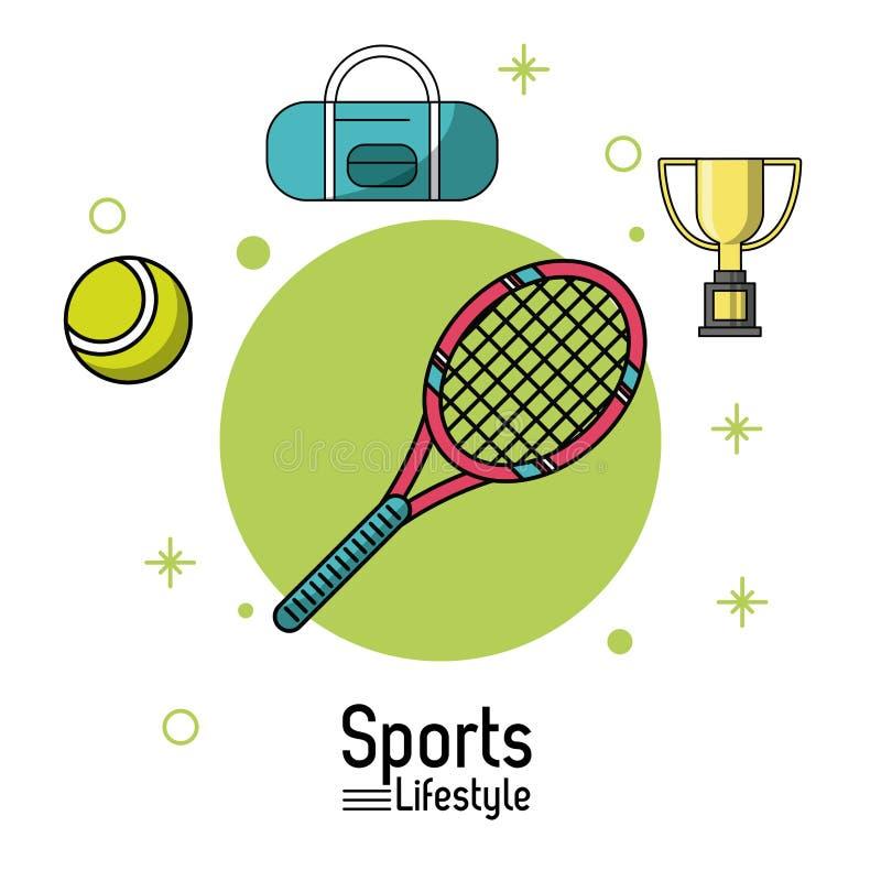 Cartel colorido de la forma de vida de los deportes con la estafa de tenis y bola y trofeo stock de ilustración