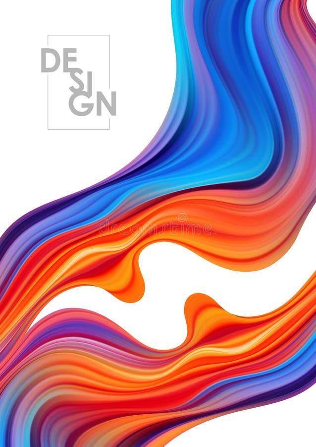 Cartel colorido del flujo del vector Forma del l?quido de la onda libre illustration