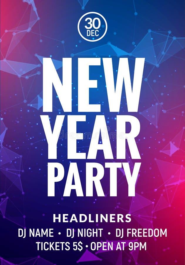 Cartel colorido del partido de la celebración del Año Nuevo Tarjeta del Año Nuevo o fondo del resplandor de la bandera libre illustration