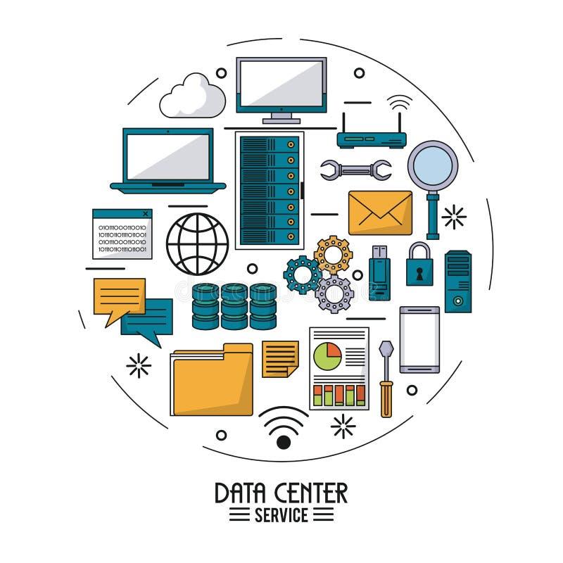 Cartel colorido del servicio del centro de datos con los iconos del dispositivo de la tecnología en la forma del círculo libre illustration
