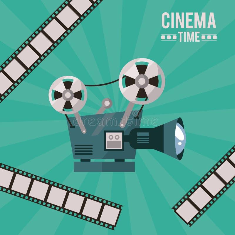 Cartel colorido del tiempo del cine con el proyector de película y la cinta de la película ilustración del vector