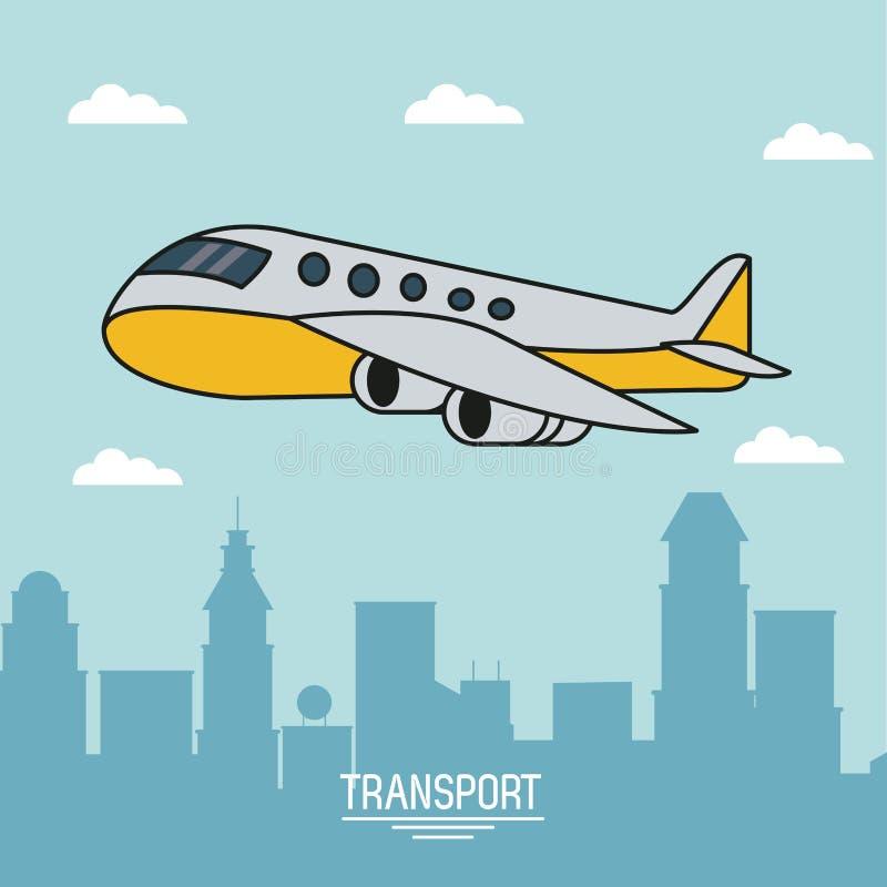 Cartel colorido del transporte aéreo con el aeroplano en vuelo sobre ciudad ilustración del vector