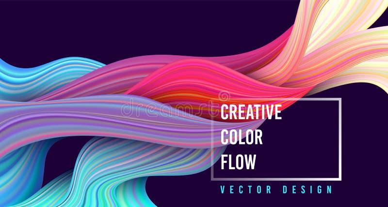Cartel colorido moderno del flujo Forma líquida de la onda en fondo azul marino del color stock de ilustración