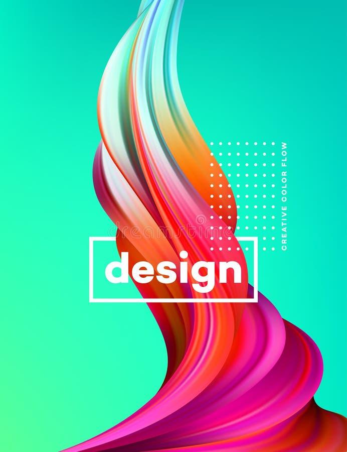 Cartel colorido moderno del flujo Forma líquida de la onda en fondo del color verde Diseño del arte para su proyecto de diseño Ve stock de ilustración