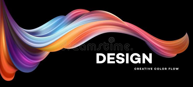 Cartel colorido moderno del flujo Forma líquida de la onda en fondo negro del color Diseño del arte para su proyecto de diseño Ve stock de ilustración