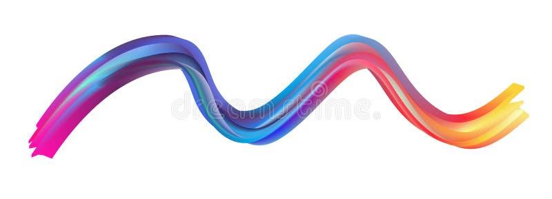 Cartel colorido moderno del flujo Forma l?quida de la onda en fondo azul del color Dise?o del arte para su proyecto de dise?o Vec stock de ilustración