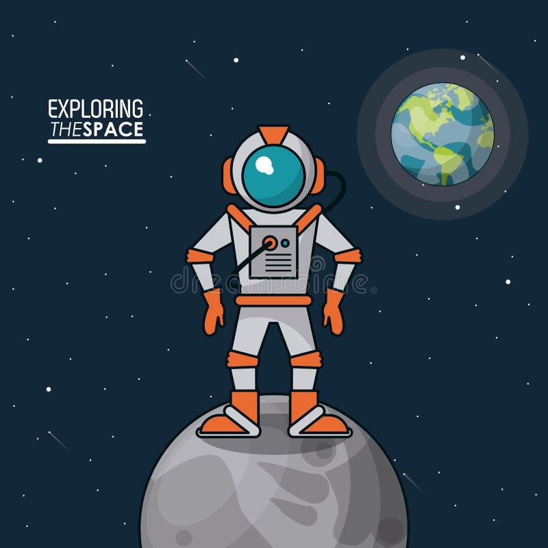Cartel colorido que explora el espacio con el astronauta sobre la tierra de la luna y del planeta en el fondo stock de ilustración