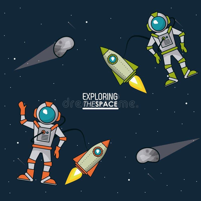 Cartel colorido que explora el espacio con los astronautas y los asteroides de las naves espaciales ilustración del vector