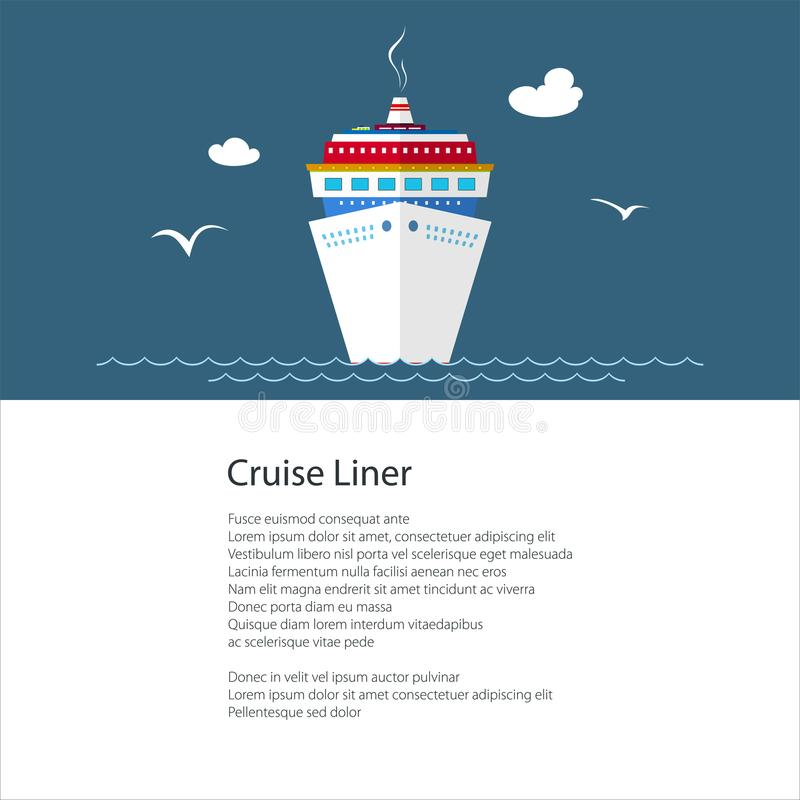 Cartel con el barco de cruceros stock de ilustración