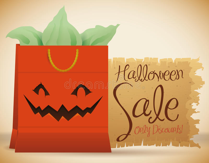 Cartel con el bolso sonriente de Halloween para la venta de Halloween, ejemplo del vector stock de ilustración
