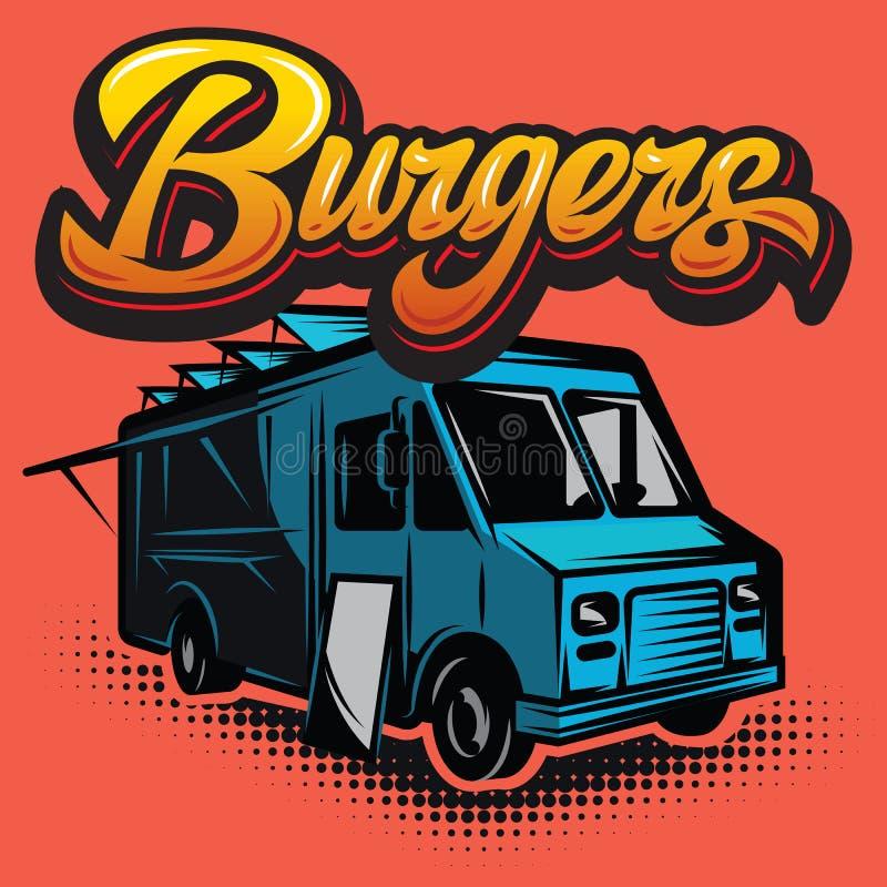Cartel con el buen coche de la hamburguesa Camión de los alimentos de preparación rápida ilustración del vector
