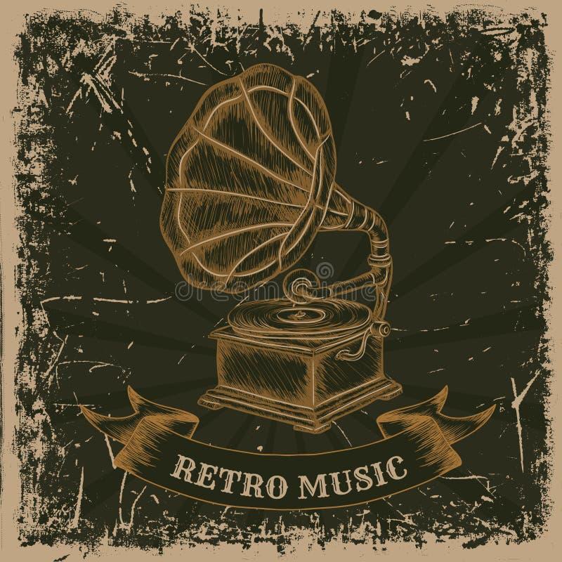 Cartel con el gramófono del vintage Música retra dibujada mano retra de la etiqueta del ejemplo del vector stock de ilustración