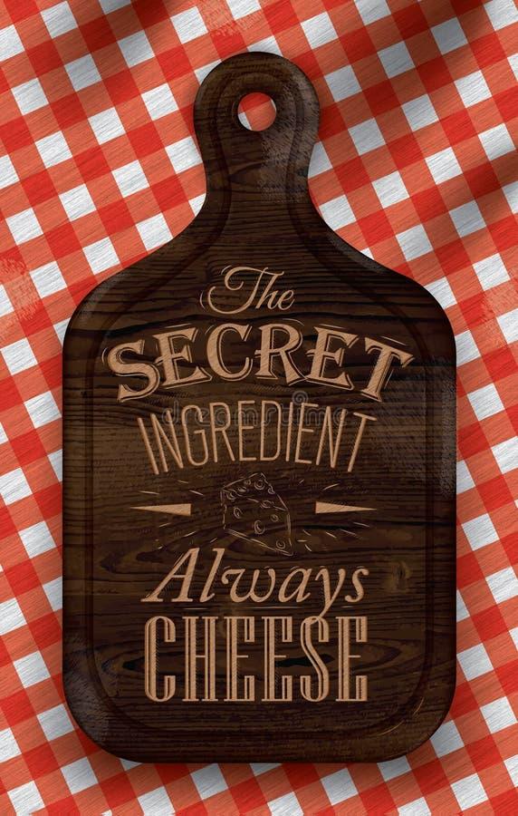 Cartel con el pan que corta al tablero de madera marrón que pone letras al queso del ingrediente secreto siempre. ilustración del vector