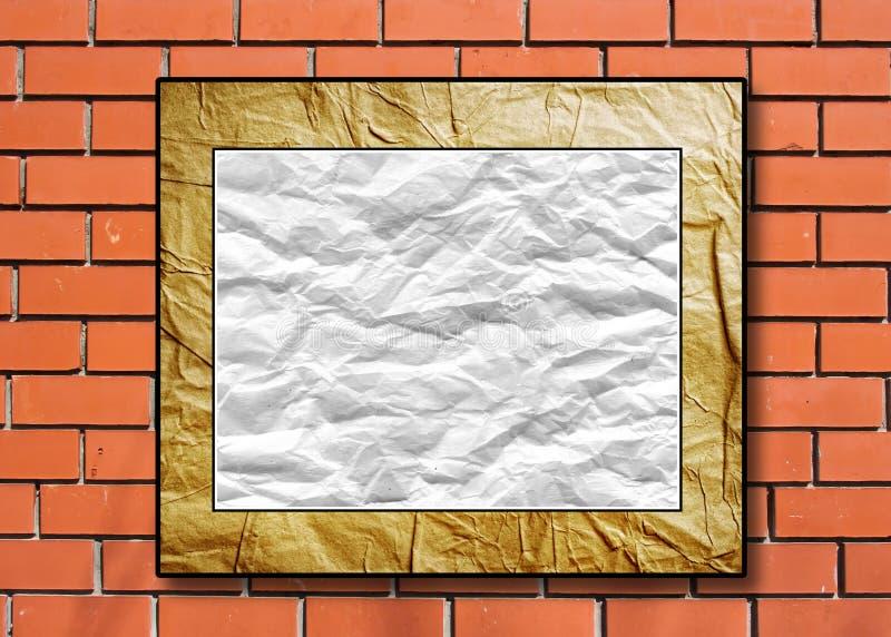 Cartel con el papel machacado en un alcance decorativo ilustración del vector