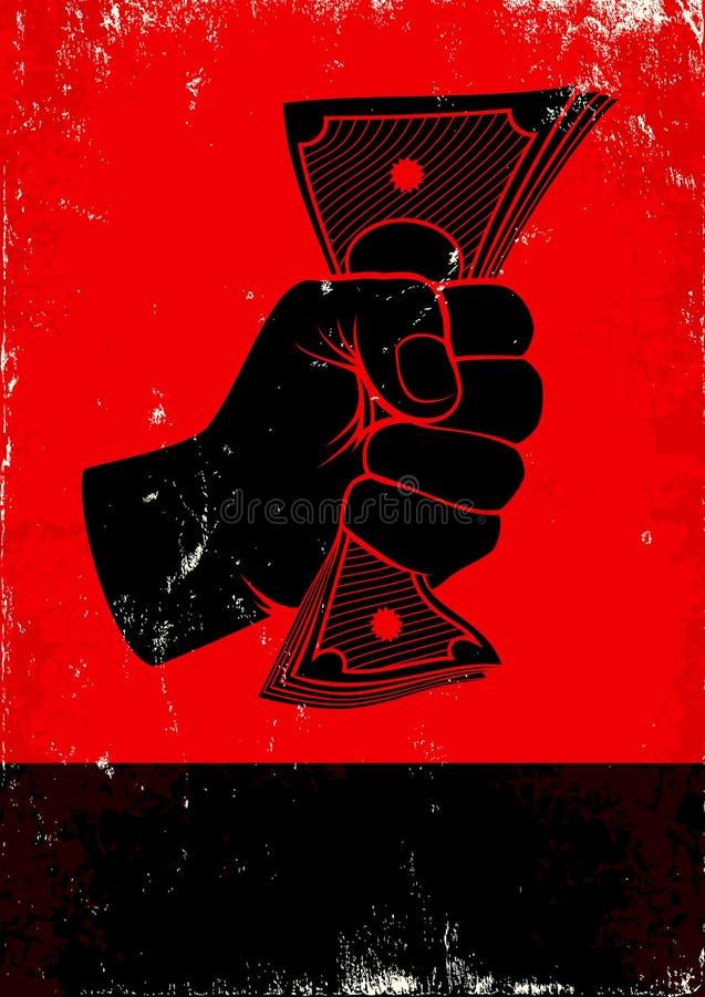 Cartel con el puño y el dinero stock de ilustración