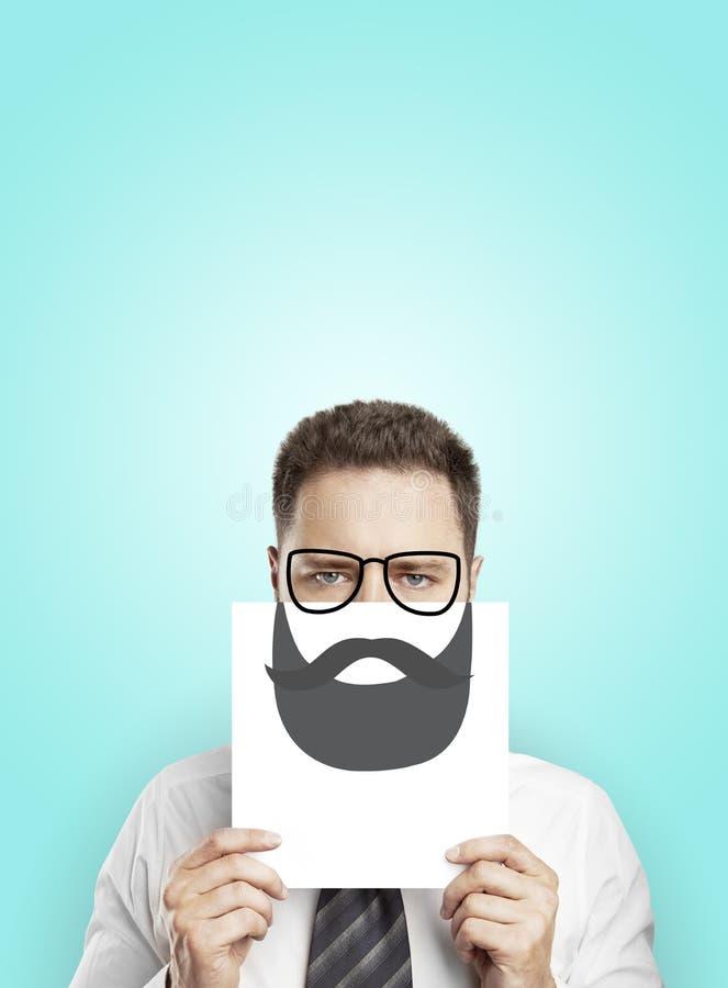 Cartel con la barba del dibujo foto de archivo libre de regalías