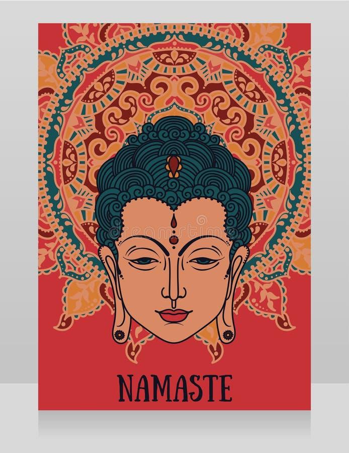 Cartel con la cabeza de Buda y la mandala hermosa ilustración del vector