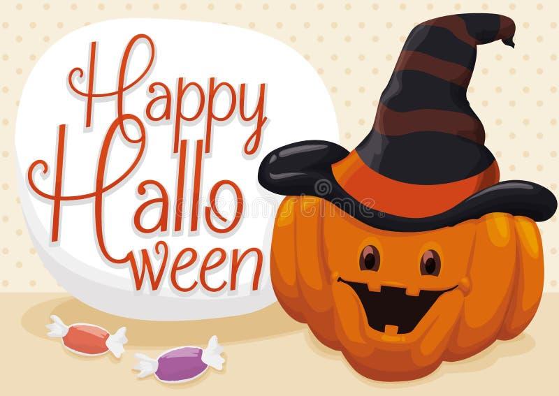 Cartel con la calabaza del feliz Halloween, ejemplo del vector stock de ilustración