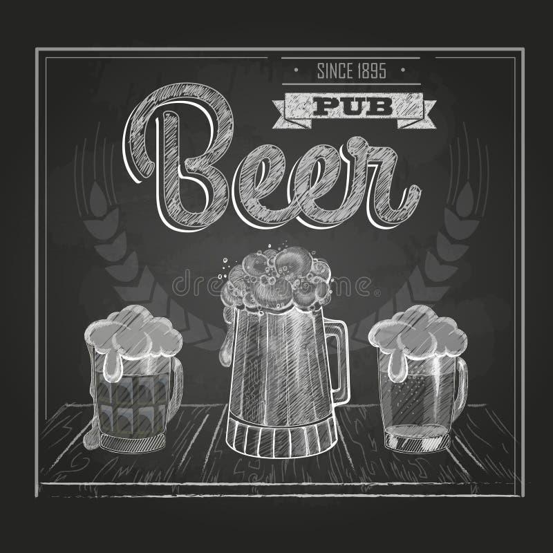 Cartel con la cerveza Dibujo de tiza stock de ilustración