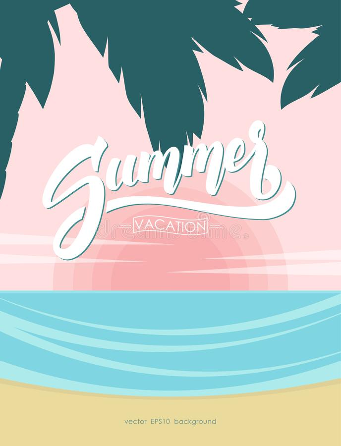 Cartel con la composición de las letras del cepillo de las vacaciones de verano en fondo de la playa del océano de la puesta del  stock de ilustración