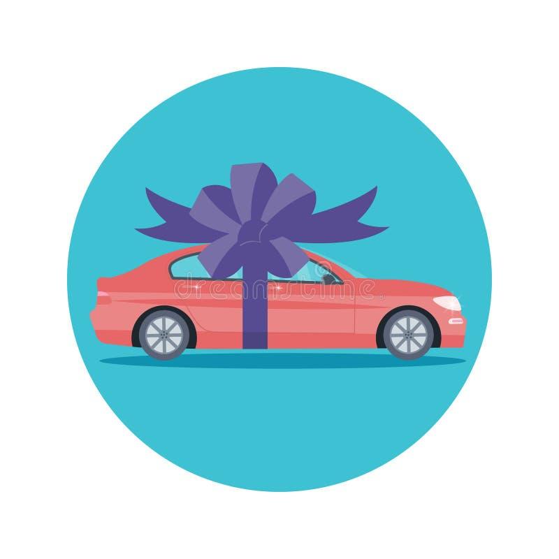 Cartel con la máquina y la cinta rojas Concepto o presenta del regalo del coche libre illustration