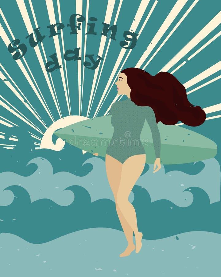 Cartel con la muchacha de la persona que practica surf con la tabla hawaiana en la playa Día que practica surf internacional stock de ilustración