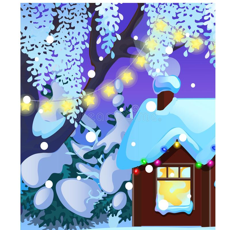 Cartel con la pequeña casa de cazadores rústica acogedora con la ventana y las decoraciones de la Navidad que brillan intensament stock de ilustración