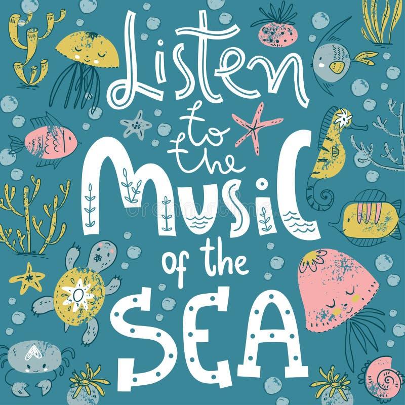 Cartel con las letras de la mano Escuche la música del mar Estilo escandinavo lindo ilustración del vector