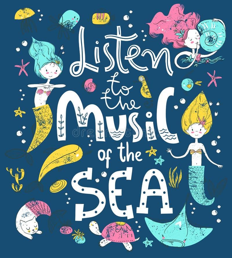 Cartel con las letras de la mano Escuche la m?sica del mar Estilo escandinavo lindo ilustración del vector
