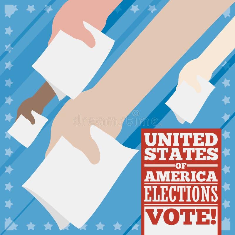 Cartel con las manos de los votantes para las elecciones americanas, ejemplo del vector stock de ilustración
