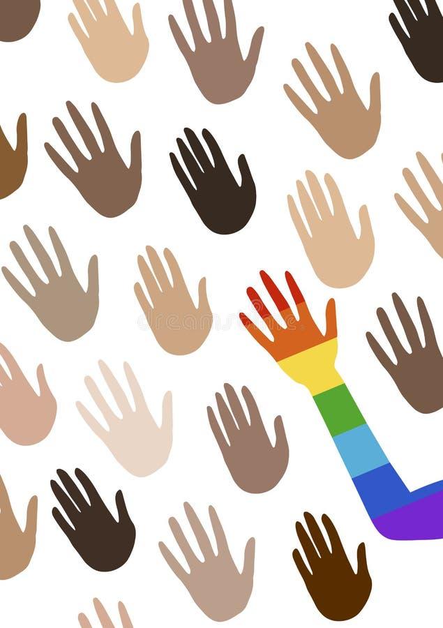 Cartel con las manos multi del grupo étnico y el hablar de igualdad de género La bandera del espectro del orgullo, homosexualidad ilustración del vector