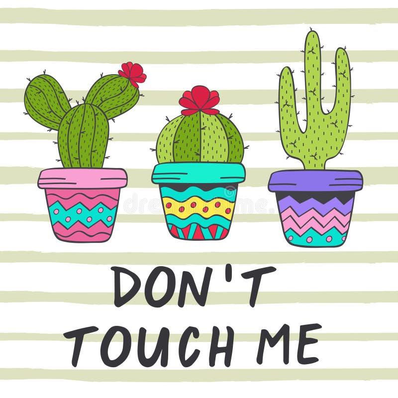 Cartel con los cactus de la diversión ilustración del vector